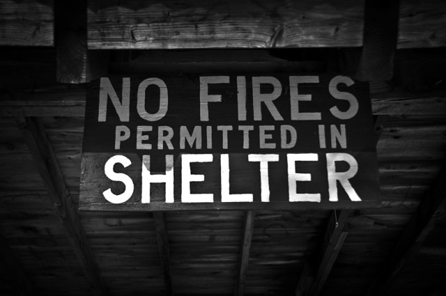 No Fires Permitted in Shelter