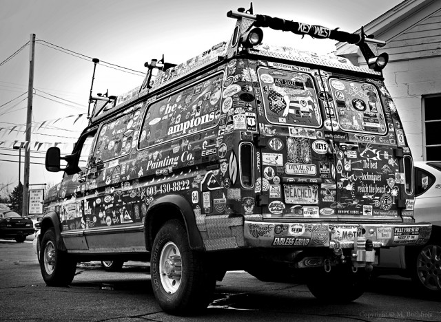 Bumper Stickers on a Van; Hampton Beach, NH