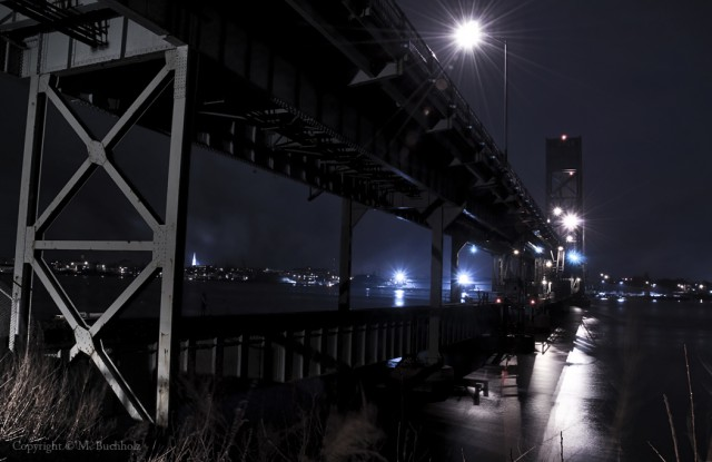Bridges of Kittery, Maine at Night