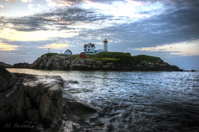 Nubble Point Lighthouse at Sunrise; York, Maine