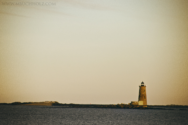 Whaleback Ledge Lighthouse at Dusk; Cape Neddick, Maine