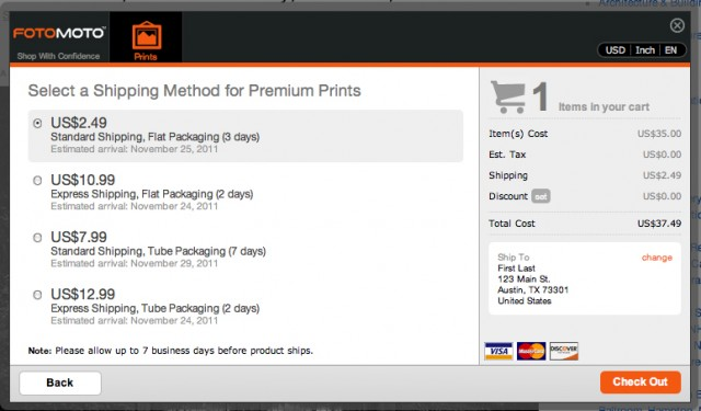 Step 5: Select shipping method and click Check Out