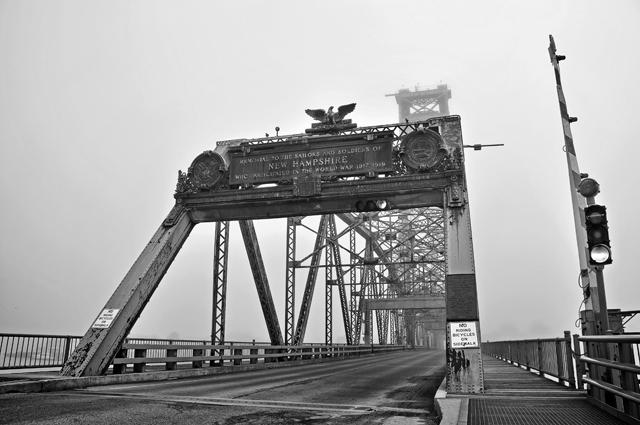 Plaque, World War Memorial Bridge, Fog; Portsmouth, NH