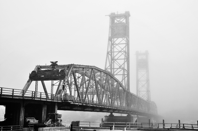Fog, World War Memorial Bridge, Fog; Portsmouth, NH