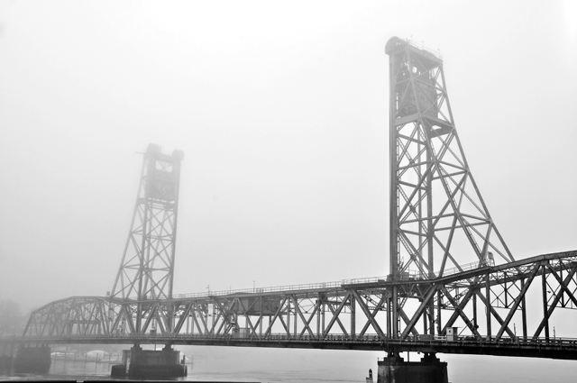 Morning Fog, Memorial Bridge and Piscataqua River; Portsmouth, NH