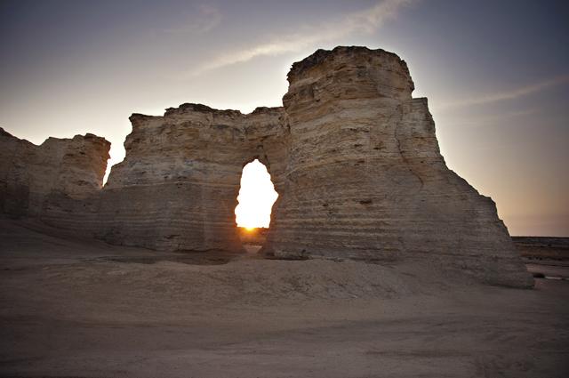 Through The Arch; Sunrise, Monument Rocks/Chalk Pyramids, Gove County, Kansas