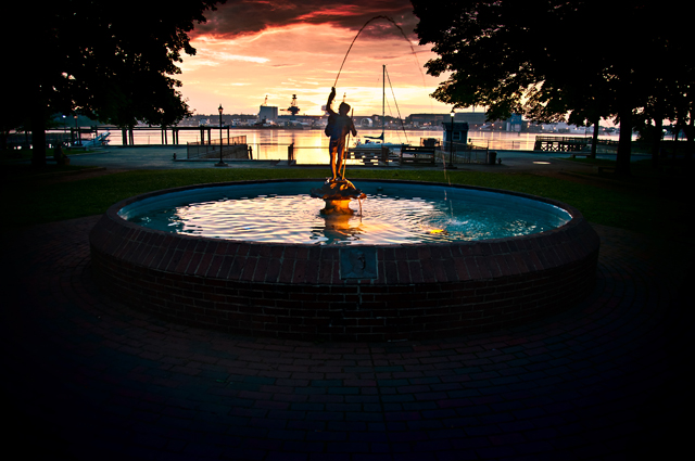 Fountain at Sunrise; Prescott Park, Portsmouth, NH