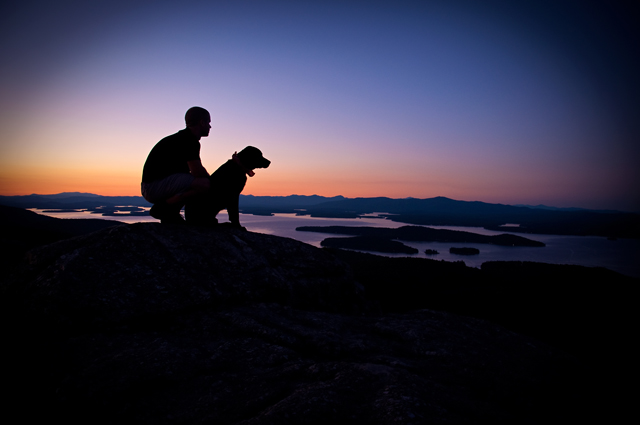 Man & His Dog at Sunset, Mt. Major; Alton, NH