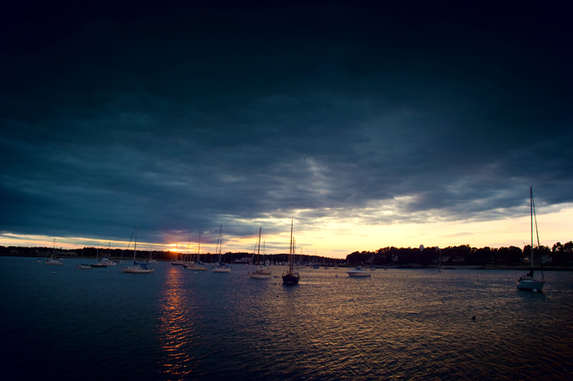 Sunset, Sailboats, Little Harbor; Portsmouth, NH