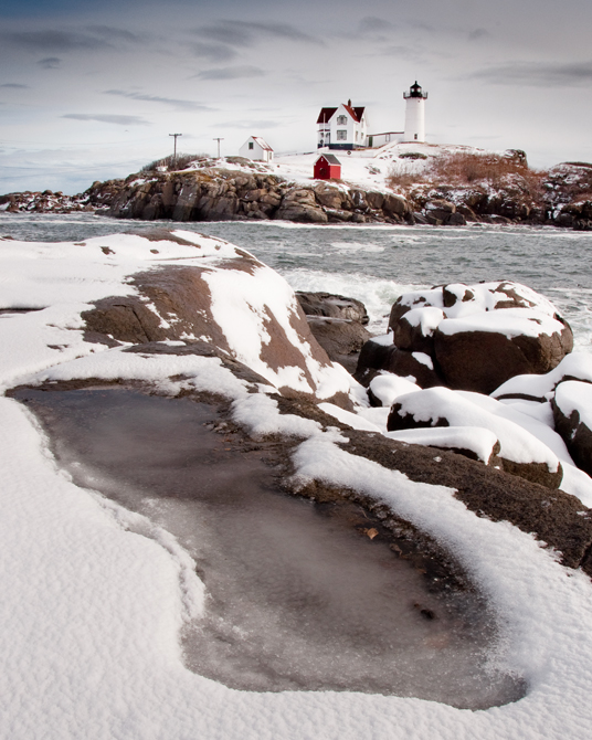 Winter at the Nubble, Cape Neddick Lighthouse; York, Maine