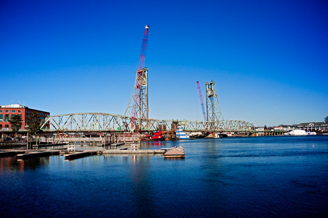 View from the East, Memorial Bridge Removal Preparation; Portsmouth, NH