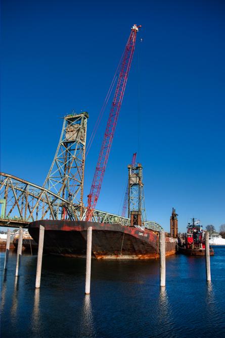 Barge, Memorial Bridge Demolition Preparation; Portsmouth, NH