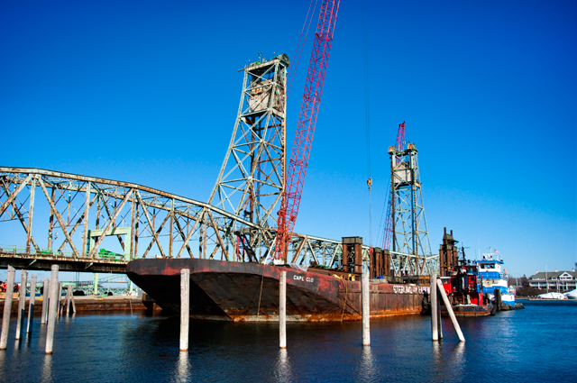 Cape Cod Barge, Memorial Bridge Demolition Preparation; Portsmouth, NH