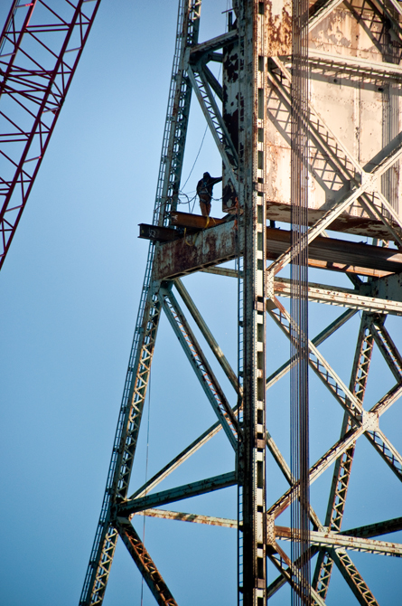 Construction Worker on the Tower, Memorial Bridge Demolition Preparation; Portsmouth, NH