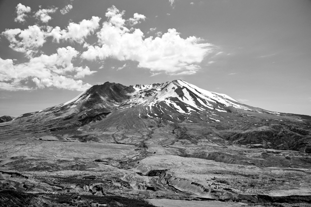 Flow Deposits, Black & White; Mount St. Helens, Washington