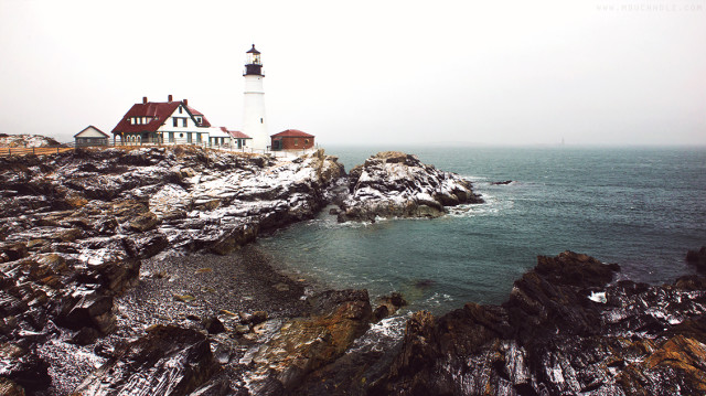 Morning Snow, Portland Head Light; Cape Elizabeth, Maine