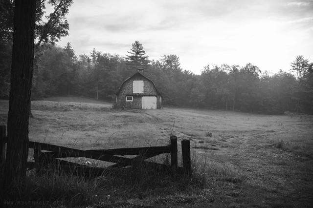 Barn, Fog, Black-and-White; Ossipee, NH