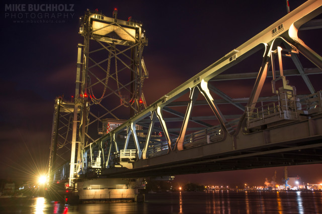 Illuminating the Memorial Bridge; Portsmouth, NH