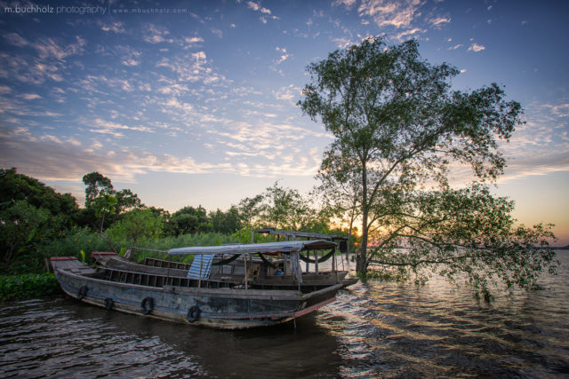 Mekong River Boat At Sunset; My Tho, Vietnam
