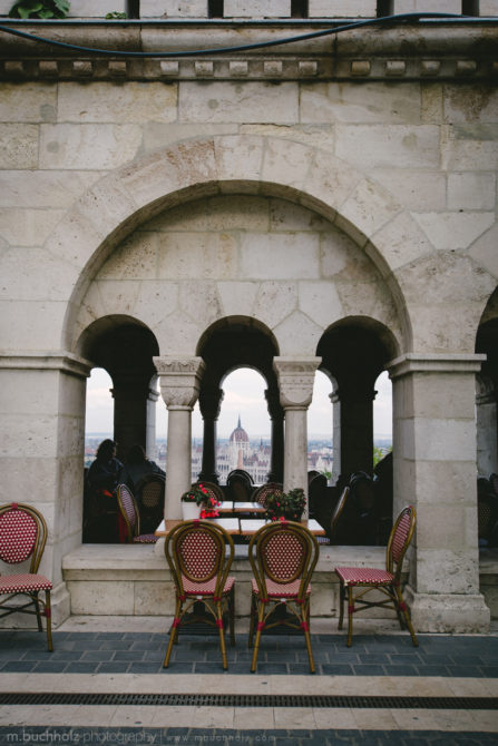 Dining at Fisherman's Bastion; Budapest, Hungary