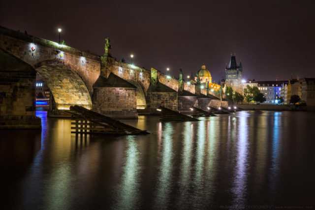 Charles Bridge At Night; Prague, Czech Republic