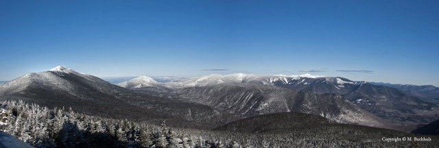 Panoramic View of the White Mountains in the Winter from Mt. Liberty