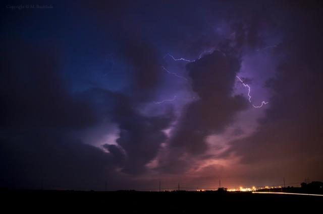 Colorful Lightning Storm in Nebraska
