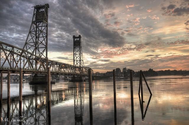 Memorial Bridge Sunrise; Portsmouth, NH