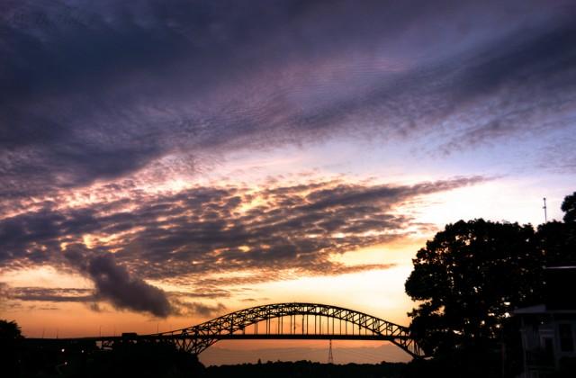 Piscataqua River Bridge at Sunset; Portsmouth, NH