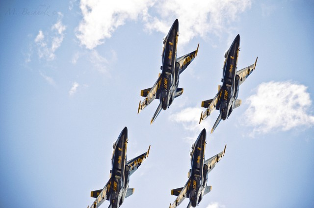 Closeup of Blue Angels in Formation