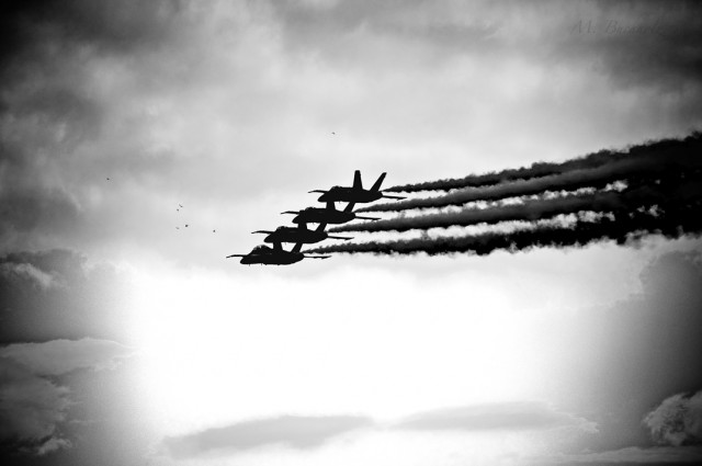 Shadowed Blue Angels in Formation