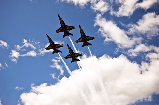 Blue Angels in Formation Overhead